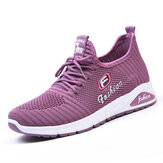 Women Letter Parttern Fabric Breathable Wearable Sports Casual Sneakers