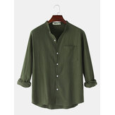 Mens Simple Solid Color Stand Collar Long Sleeve Casual Shirts With Pocket