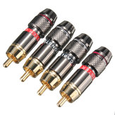 2 Pairs Gold Plating RCA Terminals Connector RCA Male Plug For Speaker Cable Amplifier