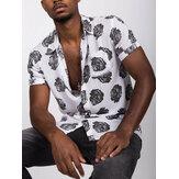Camisas transpirables de manga corta con estampado de rosas negras para hombres