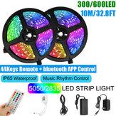 10M SMD5050 / 2835 RGB Smart LED Strip Licht APP Controle Muziek Waterdichte Lamp 44 Toetsen Afstandsbediening + Power Adapter Kerstversiering Opruiming Kerstverlichting