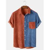 Banggood a conçu des hommes en velours côtelé patchwork poche lâche Soft chemises décontractées respirantes