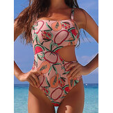 Women Cartoon Fruit Print Cut Out Adjustable Straps One Piece Beach Swimwear