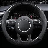 Coprivolante per auto in pelle con cuciture in fibra di carbonio 38 cm Anti Slip Black Universal