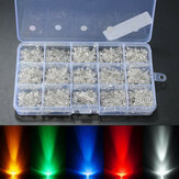 750Pcs 3mm Diodos LED Amarillo Claro Rojo Azul Verde Blanco Surtido DIY Kit