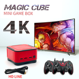 ANBERNIC 128GB 4K HD bluetooth 2.4G Mini Magic Club Video Game Console with 2 Wired Gamepads Support PS1 GBA NEOGEO FC Games