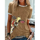Cartoon Jirafa Animal Print Crew Cuello Camisetas de manga corta