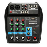 TU04 Audio Mixer Professional 4 Channel Mixing Consote bluetooth Power Monitor Paths Plus Effectd Processor EU Plug with USB