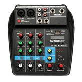 TU04 Audio Mixer Professional Miksowanie 4-kanałowe Consote Ścieżki monitora zasilania Bluetooth Plus Efektowany procesor Wtyczka UE z USB