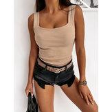 Женщины сплошной цвет без рукавов ремни слинг короткие топы