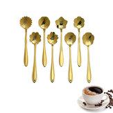 KC-FS04 Altın Çiçek Şekli Paslanmaz Çelik Kahve Şekeri Kaşığı Çay Kaşık Dondurma Sofra Takımı