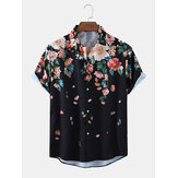 Mens Floral Print Light Casual Camisas de grife de manga curta