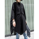 Plus Size Button Up Guipure Back High Low Hem Long Sleeve Stylish Shirts For Women