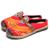 SOCOFY Soft Colorido Bordado Folkways Backless Flat Shoes