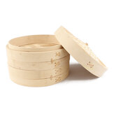 2 Tier Bamboo Steamer with Lid Strengthen Basket for Morning Tea Snack-15/20/24/30CM