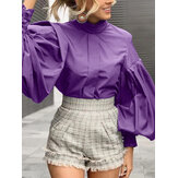 Women Stand Collar Lantern Sleeve Pleated Stylish Daily Solid Color Blouse