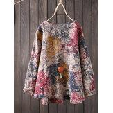 S-5XL Vintage dames katoenen losse kleurenprint blouse met lange mouwen