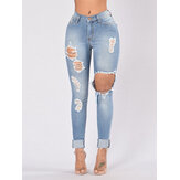 Saku Wanita Saku Berongga Ripped Long Denim Jeans