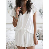 Solid Color Home Loungewear V-neck Short Sleeve Two Piece Set