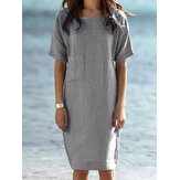 Cotton Solid Color Short Sleeve O-Neck Zipper Holiday Simple Midi Dress For Women