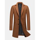 Gabardinas de negocios de bolsillo de longitud media de un solo pecho de lana para hombre