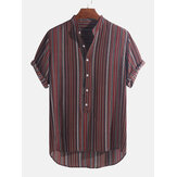 Mens Ethnic Stripe Buttons Fly Atmungsaktive Kurzarm Casual Holiday Henley Shirts