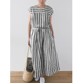 Plus Size Women Casual Stripe Short Sleeve Button Back Dress