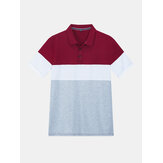 Mens New Color Matching Casual Fashion Cotton Short Sleeved Golf Shirt