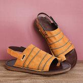 LOSTISY Hook Loop Clip Toe handgemaakte stiksels Casual antislip Slingback sandalen