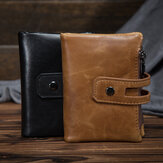 Men's Cowhide Leather Zipper Wallet RFID Blocking Card Holder Coin Purse