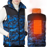 TENGOO Camouflage Heated Vest Men USB Infrared Winter Flexible Electric Jacket 3 Modes 2 Heating Zone Thermal Clothing Waistcoat Fishing Hiking