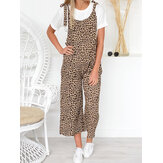 Dames Bandjes Breed Been Luipaardprint Overalls Lange Jumpsuit
