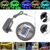 5M Impermeabile 3528 RGB 300 Striscia di Luce LED Flessibile con Telecomando IR con 24 Tasti + Adattatore d'Alimentazione DC12V