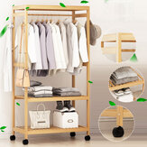 2-Tier Wooden Clothes Garment Hanging Stand Rack Household Clothes Storage Shelf Stand