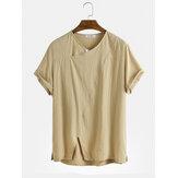Mens vintage 100% coton respirant col en v à manches courtes t-shirts occasionnels