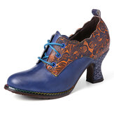 SOCOFY Vintage Leather Floral Stitching Lace up Side Zipper Chunky Heel Pumps