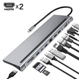 Bakeey 12 In 1 Triple Display USB Type-C Hub Docking Station Adapter Dengan Dual 4K HDMI Display / 1080P VGA / 87W USB-C PD3.0 Power Delivery / USB-C Data Transfer Port / RJ45 Network Port / 3.5mm Audio Jack / 3 * USB 3.0 / Pembaca Kartu Memori