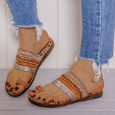 LOSTISY Bohemian Stitching Flower Pattern Soft Non Slip Toe Ring Comfy Casual Summer Beach Flat Sandals