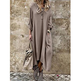 Long Sleeve Button Long Sleeve Solid Side Pocket Casual Maxi Dress For Women