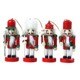 4pcs 10cm Color Nutcracker Puppet Pendant Wooden Nutcracker Doll Soldier Handcraft Puppet Christmas Decorative Gifts