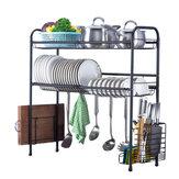 60/70/80 / 90cm Prateleira de rack de aço inoxidável 304 Armazenamento de duas camadas para arranjo de pratos de cozinha