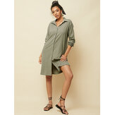 Women Long Sleeve V-neck Button Pocket Dress