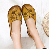 Women Flowers Decor Comfy Casual Slip On Flat Loafers