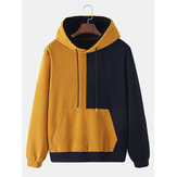 Corduroy Mens Solid Color Patchwork Kangaroo Pocket Casual Drawstring Hoodie