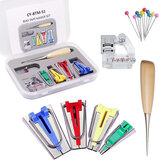 Kits de Fabricantes de Fita de Costura 4 Tamanhos 6MM 12MM 18MM 25MM Uso Doméstico DIY Tecido Patchwork Acessórios de costura Kit de criadores de ferramentas com clipes de artesanato de pés de ligação Furador Pin de Quilter para Quilt Binding
