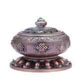 Incense Coil Burner Tibet Lotus Copper Alloy Holder Gift Craft Yoga Room Home Decor Buddhist Censer