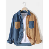 Corduroy Mens Solid Color Patchwork Double Pocket Long Sleeve Design Shirts