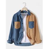 Camisas de veludo masculino patchwork de cor sólida com bolso duplo manga longa Design