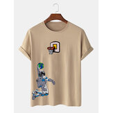 Mens Astronaut Shooting Cartoon Print Crew Neck Camisetas de manga curta