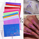 Kit d'autocollants de flamme d'ongle de 13 couleurs 3D Laser Diamond Curve Back Gum Manucure Art Stickers